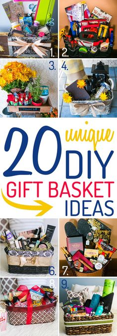 Unique DIY Gift Basket Ideas These ideas for a DIY gift basket are unique, and packed with tips from the experts at Wine Country Gift Baskets.These ideas for a DIY gift basket are unique, and packed with tips from the experts at Wine Country Gift Baskets. Themed Gift Baskets, Diy Gift Baskets, Christmas Gift Baskets, Raffle Baskets, Diy Christmas Gifts, Gift Basket Themes, Unique Gift Basket Ideas, Creative Gift Baskets, Basket Gift