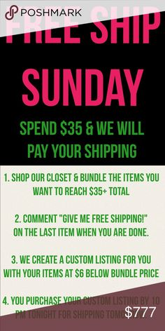 FREE SHIPPING SUNDAY until 10 pm CST Get free shipping today on orders over $35 - can combine bundle discount and free shipping discount for double savings. See photo for easy directions to getting your savings! Offer good until 10 pm CST. Nike Tops