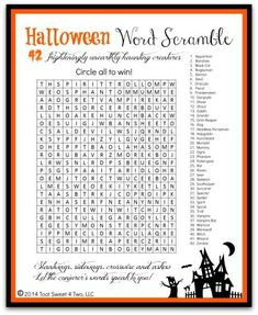 Halloween Word Scramble - a fun FREE printable to use for your next Halloween get-together.