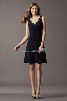 elegant v-neck sleeveless short a-line lace bodice bridesmaid dress.US$ 239.00 off US$116.48