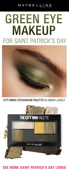 Dare to go green? Try this color on your eyelids with gold, bronze and deep neutrals for the perfect St. Patrick's Day look. Simply cover the entire eyelid with green then shade and contour using Maybelline's City Mini Eyeshadow Palette. Green Eyeshadow, Eyeshadow Looks, Eyeshadow Palette, Natural Eyeshadow, Makeup Tips, Hair Makeup, Makeup Box, Makeup Ideas, Beauty Make Up