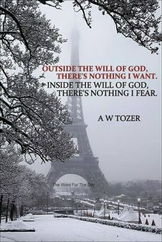 Outside the will of God, there's nothing I want. Inside the will of God,there's nothing I fear. Bible Verses Quotes, Faith Quotes, Scriptures, Christian Life, Christian Quotes, Great Words, Wise Words, Aw Tozer Quotes, Great Quotes