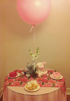 Giant pink #balloon at the #babyshower!  lauraolsenevents.com