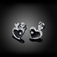 comeon® Jewelry Earring Brass Heart real silver plated micro pave cubic zirconia enamel 12x15mm - Gets.com