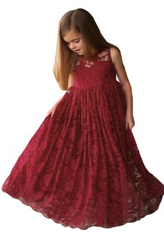 Floral Lace A-line Sleeveless Ruffles Holiday Party Flower Girl Dress * You can find more details by visiting the image link. (This is an affiliate link) Designer Flower Girl Dresses, Red Flower Girl Dresses, Girls Lace Dress, Lace Flower Girls, Lace Flowers, Little Girl Dresses, Girls Dresses, Floral Lace, Baby Dress