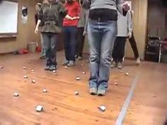 Mine field team builder: teammates guide blindfolded team members through the mine field.  I would make it competitive- subtracting time for each mine hit.  Video on YouTube.