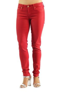 Womens Fashion Runaway Mid Rise Skinny Stretch Jeans Red