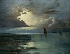 Sunset at the Sea with Thunderstorm,1903 Andreas Achenbach