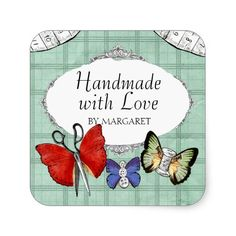gift bags decorated with old sewing notions | Vintage sewing notions butterflies gift tag label stickers