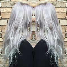 Silver You look better in this color than anyone I know Lifted her base to a pale yellow using olaplex// washed with purple shampoo, toned with and a splash of Applied to her root and pulled through the last 5 minutes. Hair Pale Skin, Lilac Hair, Pastel Hair, Pale Blonde, Platinum Blonde Hair, Secret Hair Extensions, Long Gray Hair, Purple Shampoo, Hair Locks