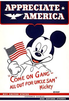 Mickey appreciates America! #Disney #WW2 #vintage #propaganda #poster #1940s