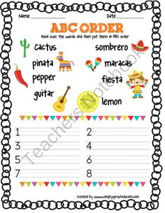 FREE Cinco de Mayo ABC order from Simply Sprout on TeachersNotebook.com (1 page)
