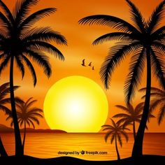 Summer backgroud with sunset and palm trees silhouette free vector Palm Tree Silhouette, Silhouette Painting, Small Canvas Art, Diy Canvas Art, Drawing Sunset, Art Et Nature, Art Quilling, Simple Acrylic Paintings, Sunset Art