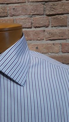 f991d2162c7c7 BROOKS BROTHERS Mens Shirt Slim Fit Non-Iron French Cuff Blue White Brown  15-