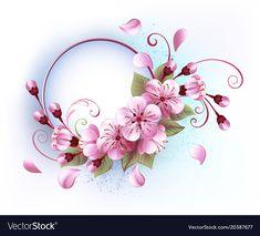 Buy Round Banner with Sakura by on GraphicRiver. Round banner with blooming, pink sakura blossom on white background. Sketchy Tattoo, Cherry Blossom Art, Blossom Tattoo, Flower Frame, Back Tattoo, Flower Tattoos, Tattoos For Women, Beautiful Flowers, Body Art