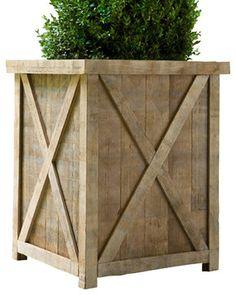 Azobe Rectangle Planter contemporary outdoor planters