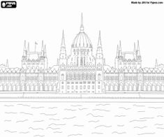 Free The impressive Hungarian Parliament building in Budapest on the shore of the Danube coloring and printable page.