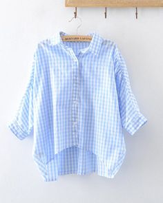 Batwing Sleeve Plaid Loose Cotton Linen Women Blouse Plus Size Casual Shirt