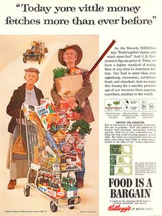 1963 Beverly Hillbillies Granny - Jed -Kelloggs-Original * Magazine Ad This is an Original Large Format Magazine Ad Size is about * Inches To See More Vintage Breakfast Cereal Ads Click The Link Below- Old Advertisements, Retro Advertising, Retro Ads, Vintage Ads, Vintage Posters, Vintage Food, Retro Food, Celebrity Advertising, Vintage Stuff