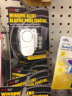 Use dollar tree window alarms to keep your Halloween props from disappearing. I know this isn't lighting but didn't want it to get lost in Halloween