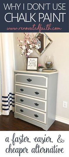 See why my process is faster, less-expensive and achieves a more durable finish than chalk paint! Why I Don't Use Chalk Paint - My Better Alternative. #chalkpaint #latexpaint #paintfurniture #chalkpaintingfurniture #renovatedfaith www.renovatedfaith.com