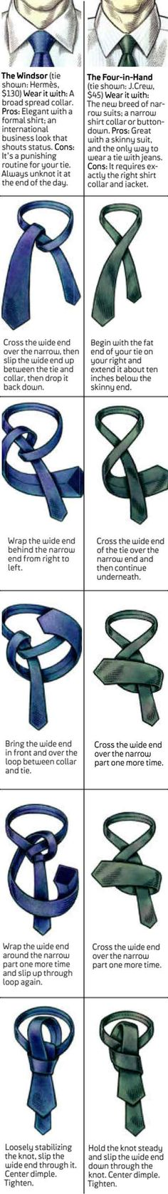 How to tie a Windsor and four in hand tie