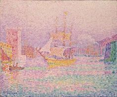 """le entrée à l Du port of Marseille"" de Paul Signac (1863-1935, France)"
