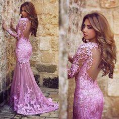 Long sleeve Lace prom dress, Lilac Mermaid Prom dresses, Long prom dresses, 2016 prom dresses