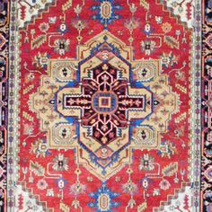 Indo Hand-knotted Heriz Red/ Navy Wool Rug (6' x 9') | Overstock.com $569.49