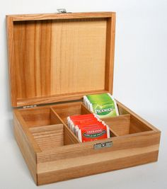 6 compartment wooden teabox by CraftyMartyWorkshop on Etsy