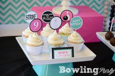 Cute bowling cupcake toppers. Spare Cupcakes.