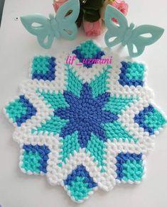 Boncuk - Remziye Gücükbel Crochet Coaster Pattern, Easy Crochet Patterns, Crochet Puff Flower, Crochet Doilies, Plastic Canvas Christmas, Crochet Kitchen, Yarn Shop, Knitting Designs, Vintage Patterns