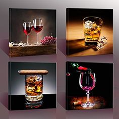 Home Decor Canvas Wall Art 4 Panels Canvas Prints Wine Pictures Wine Whisky Framed Wine Wall Art for Home ** You can get more details by clicking on the image. (This is an affiliate link and I receive a commission for the sales) Wine Theme Kitchen, Kitchen Decor Themes, Kitchen Wall Art, Kitchen Canvas, Kitchen Tips, Diy Kitchen, Kitchen Ideas, Wine Wall Decor, Wine Wall Art