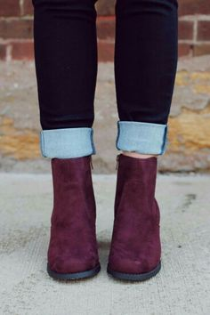 These wine colored booties are hella cute.