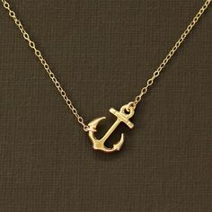 Sideways Gold Anchor Necklace - 14K Gold Filled Chain