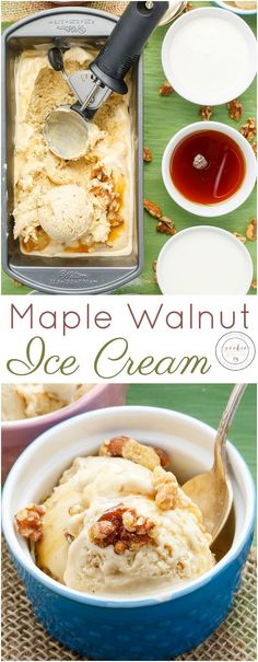 Homemade Maple Walnut Ice Cream | http://thecookiewriter.com | @thecookiewriter | #icecream #Canada150 | As a Canadian, maple syrup is essential in my pantry and this homemade maple walnut ice cream recipe is completely vegetarian and gluten-free!