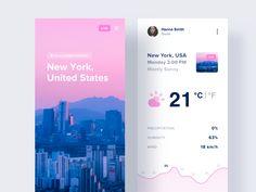 Weather Concept by Gerson Portillas for Hyper Lab on Dribbble Best Ui Design, Web Design, App Ui Design, Interface Design, Graphic Design, Facebook Ad Agency, Facebook Marketing, Mobile Application Design, Mobile Design