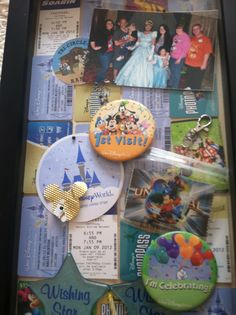 Can't bear to throw away all those nifty keepsakes from your Disney vacation(s)? I used mine as a collage background for our Disney World shadow box display.