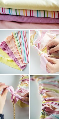 Super Easy DIY Rag Tie Banner, DIY Rag Tie Garland, Cute Birthday Party Decoration