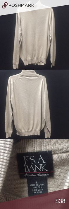 NWNT Jos A.Bank Tan Sweater. Solid Tan never worn 100% Silk Care Cover. 24in Chest, 30in Long and 28in Sleeves from Shoulder to wrist. Jos A. Bank Sweaters Crewneck