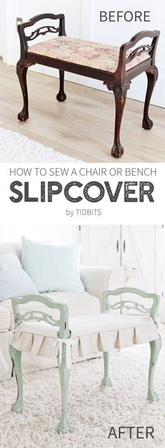 How to sew a chair cushion or bench slipcover. Way easier than you think!