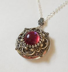 Dragon Breath Fire Opal Silver locket--silver locket