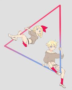 三角形 Len Y Rin, Vocaloid Len, Kagamine Rin And Len, Miku Chan, Kaito, Electric Angel, Manga, Chibi, Mikuo
