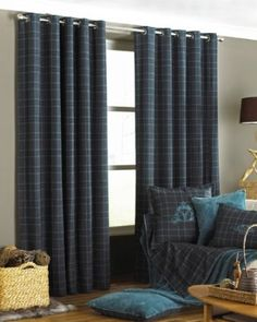 IDEA FOR FIRST BEDROOM (Scottish theme) -Verbier Tartan Check Lined Eyelet Curtains, Teal, 66 x 72 Inch: Amazon.co.uk: Kitchen & Home