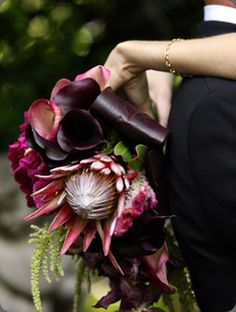 protea, this bouquet features a king protea with eggplant callas and green amaranth
