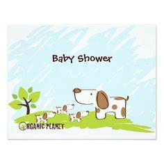 Puppies Organic Planet Baby Shower Invitations