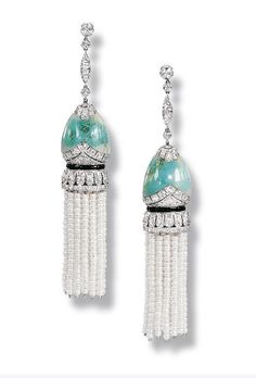Pair of Turquoise, Seed Pearl and Diamond Pendant Earrings
