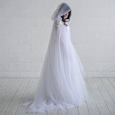 Ethereal – bridal cloak / wedding cape / bridal cape / tulle bridal cloak / wedding cloak / unique bridal cover up / veil alternative - Wedding Dress Wedding Veils, Wedding Dresses, Wedding Cape Veil, Bridal Cover Up, Two Piece Wedding Dress, Bridal Cape, Fantasy Dress, Plus Size Wedding, Beautiful Gowns
