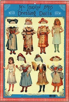 McLoughlin Bros Dressing Dolls Anziehpuppen Papierpuppen Reprint 1890 Paperdolls