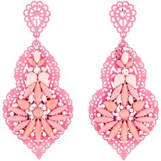 Hot pink Angélique de Paris drop earrings with laser cut detail throughout, pink and orange cabochons, opaque crystals throughout, and post closure.
